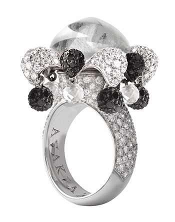 AVAKIAN Joker ring in diamond and black onyx